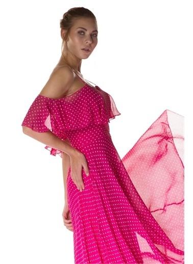 Carmen Carmen Puantiye Fuşya Askılı Uzun Abiye Elbise Fuşya